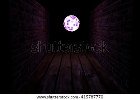 End of dark tunnel, magic light. 3d illustration - stock photo