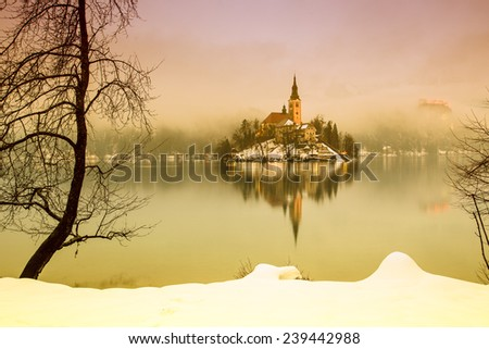 End of day at the  lake Bled  in winter, Slovenia, Europe - stock photo