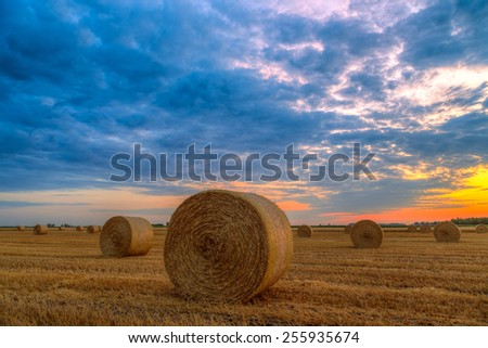 End of day over field with hay bale in Hungary- this photo made by HDR technic - stock photo