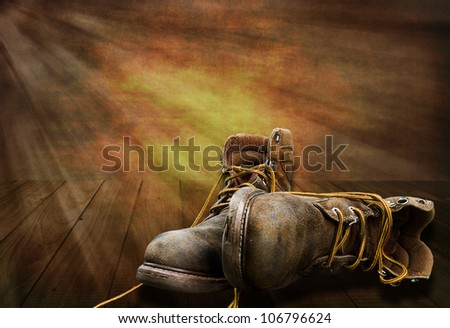 End of hard working day, man's working boots lay on deck with sunsetting, Illustration - stock photo