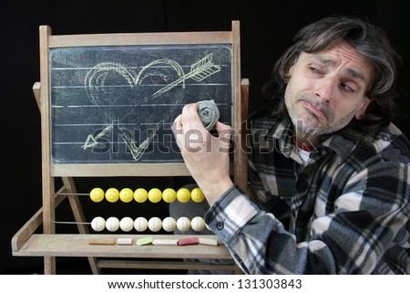 end of love concept,sad man erasing an heart sketch on chalkboard