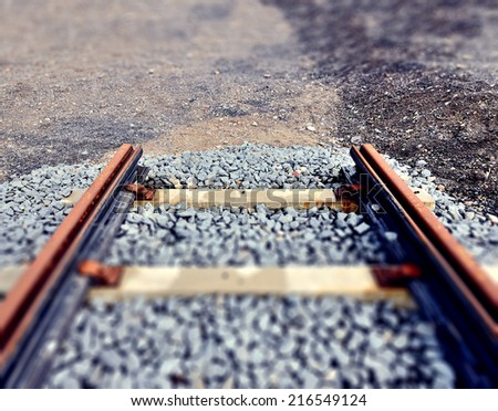 End of railway line - stock photo