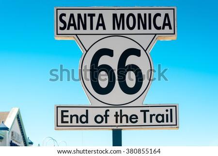 end of route 66 on santa monica pier, california - stock photo