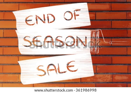 end of season sale: illustration of roller brush painting marketing message