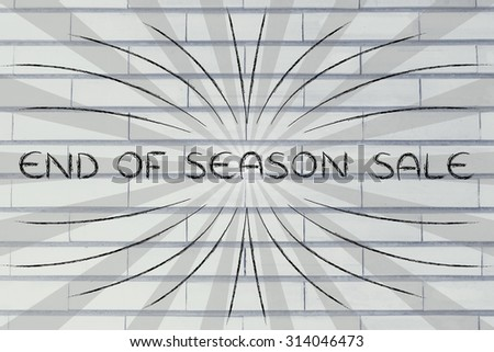End of Season Sale, illustration with text surrounded by two types of rays and flare