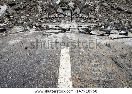 End of the road. It's digged up. - stock photo