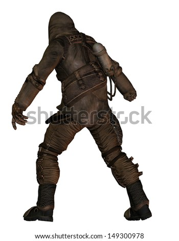 End Time - fighter with protection suit from behind - stock photo