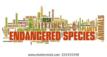 Endangered species - environment issues and concepts word cloud illustration. Word collage concept. - stock photo