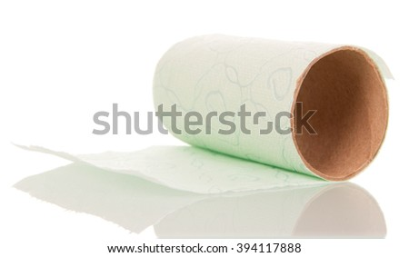Ending toilet paper roll isolated on white background. - stock photo