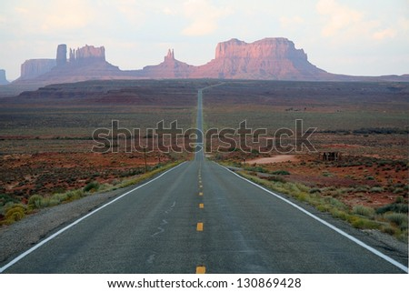 endles way to the Monument Valley - stock photo