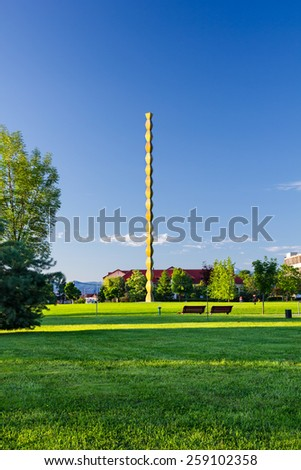 Endless column placed in the park with the same name in Targu Jiu, Romania