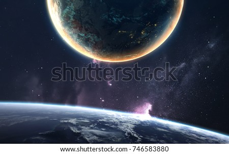 Endless cosmic landscape with billions of stars and planets. Elements of this image furnished by NASA