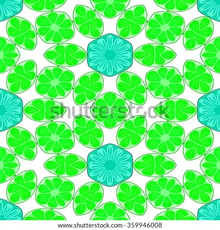 Endless green blue white wallpaper with floral pattern - stock photo