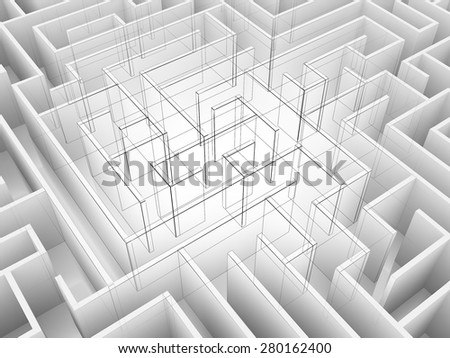 endless maze 3d illustration,wire frame