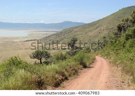 Endless road along the rim of Ngorongoro Conservation Area, Tanzania