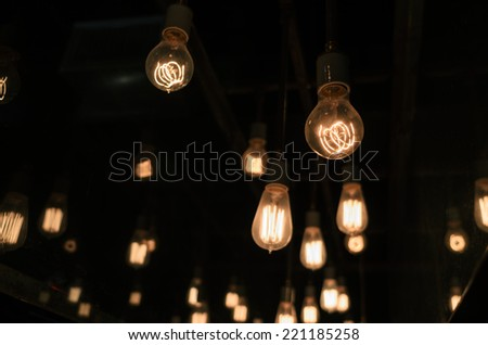 Endless Stream of Lights Hanging - stock photo