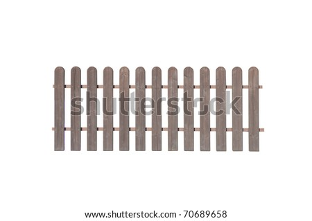 endless wooden fence isolated on white background