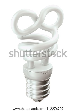 Endlessness symbol light bulb isolated over white background