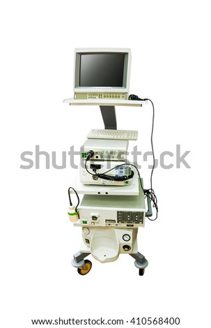 Endoscope with monitor for medical inspection isolated on white background - stock photo