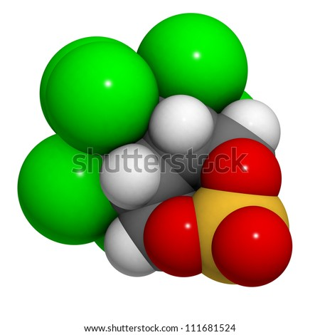 Endosulfan insecticide molecule, chemical structure. Endosulfan is a highly toxic and controversial insecticide