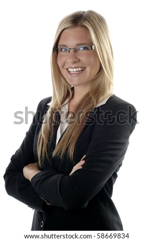 Energetic and young business woman smiles, isolated over white background.