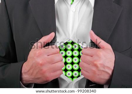 energetic businessman revealing his secret - stock photo