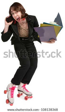Energetic office worker with pink roller skates and telephone - stock photo