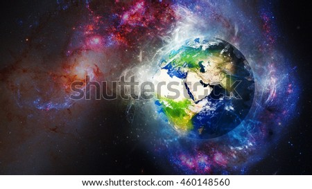 Energetic Planet Earth 3D Illustration - Beautiful Cosmic Globe Background - Middle East Map (Elements of this image furnished by NASA)