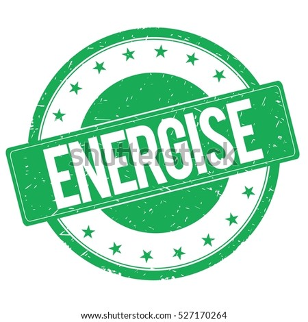 ENERGISE stamp sign text word logo green.