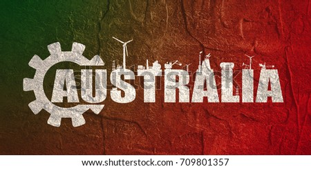 Energy and Power icons. Sustainable energy generation and heavy industry. Australia word decorated by gear. Grunge distress texture.
