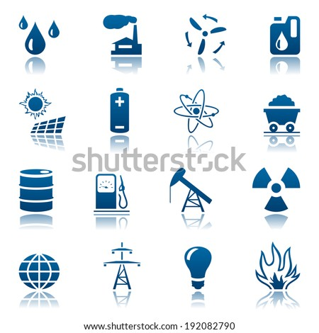 Energy and resource icon set. Raster version - stock photo