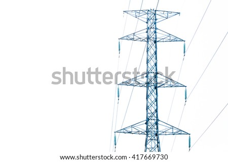 Energy and technology: electrical post by the road with power line cables, transformers and phone lines against white background providing copy space. High voltage power pole on white background - stock photo