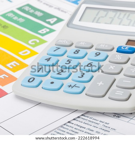 Energy chart and calculator - 1 to 1 ratio - stock photo