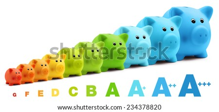 energy class efficiency scale savings of colorful piggy bank - stock photo