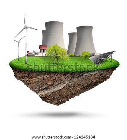 energy concepts with nuclear power plant,wind turbines and solar panel - stock photo