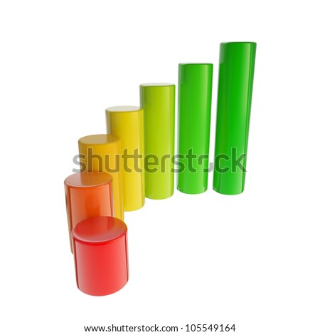 Energy consumption dimensional colorful bar graph isolated on white - stock photo