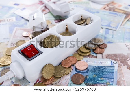 Energy Costs concept (close-up shot) with European money - stock photo