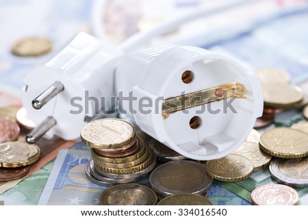 Energy Costs concept with European money (close-up shot) - stock photo
