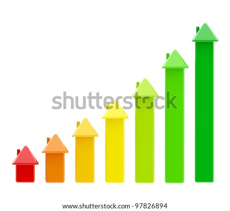 Energy efficiency as a bar graph made of symbolic houses isolated on white