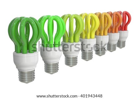 Energy efficiency chart with saving lamps concept, 3D rendering - stock photo