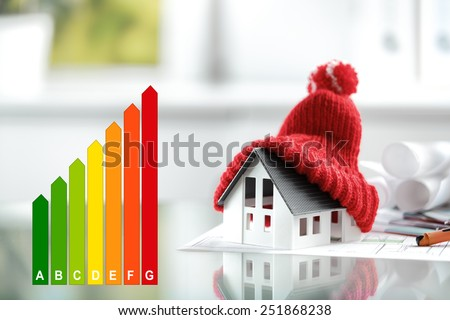 Energy efficiency concept with energy rating chart and a house with red bobble hat - stock photo