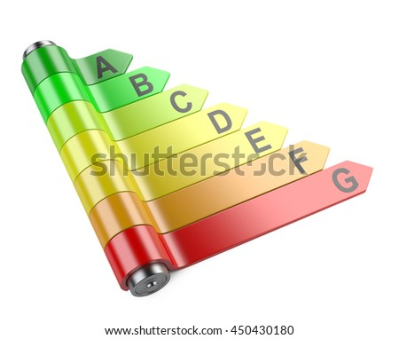 Energy efficiency concept with rating chart with battery. 3d image isolated on a white background.