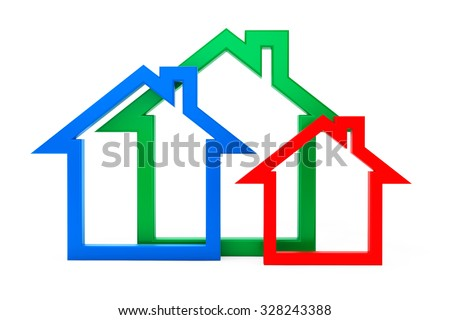 Energy Efficiency House Icons on a white background  - stock photo