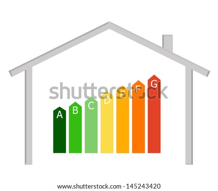 Energy efficiency in buildings with the symbol of a house