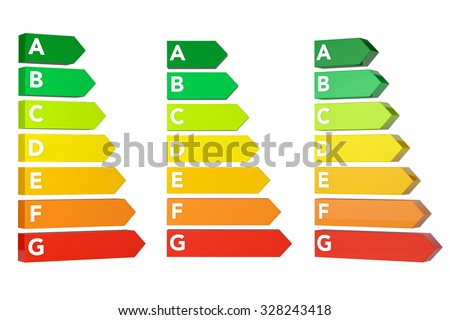 Energy Efficiency Rating Charts on a white background  - stock photo