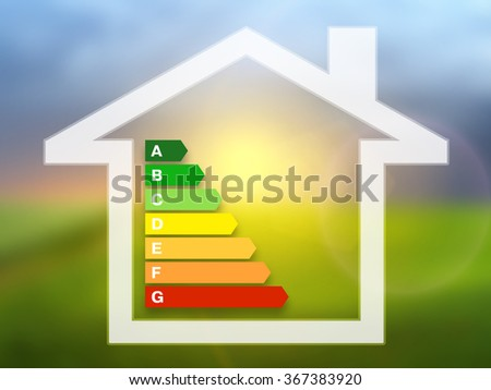Energy efficiency rating charts with house on a nature background - stock photo