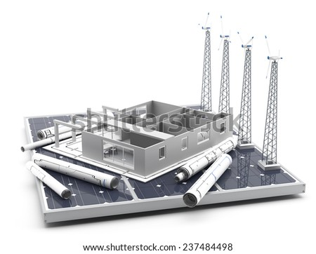 Energy efficient construction - 3D Render - stock photo