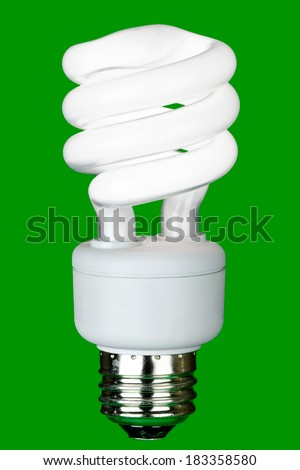 Energy efficient fluorescent bulb on a green background.