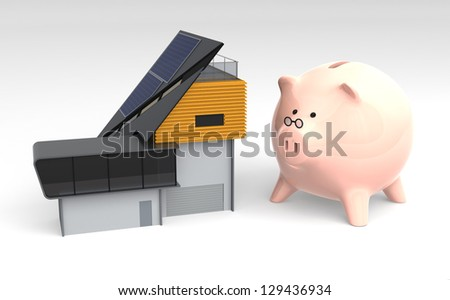 energy efficient house and piggy bank