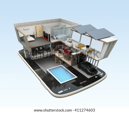 Energy-Efficient house equipped with solar panels, energy saving appliances on a smart phone.  automation home controlled by smartphone concept. 3D rendering image with clipping path.